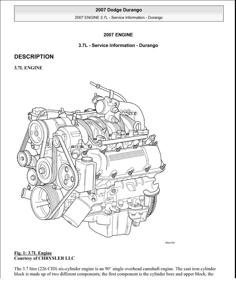 2007 Dodge Durango 3 7l Engine Service Manual Pdf  6 76 Mb